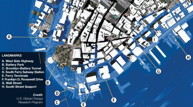 Sea levels batte New York City Real Estate Battles Rising Seas