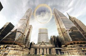 Futuristic Halo Above Grand Central Station