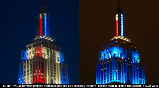 Empire State Building LED live election results Obama Romney Spire Close up Empire State Building Takes New LED Lighting Technology to Display 2012 Presidential Race