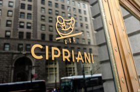 EWATAG Sign of Luxury restaurant club, residence, Cipriani, at 55 Wall Street, New York, Manhattan.United States of America.