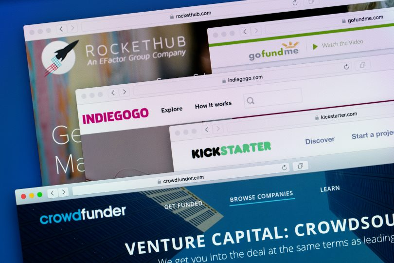 Istanbul,Turkey - June 7, 2016: Websites ( homepage) of leading crowdfunding platforms in the world-Kickstarter, Indiegogo, RocketHub, Crowdfunder and GoFundMe on a computer screen