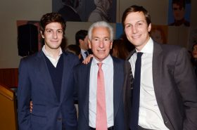 Josh, Charles and Jared Kushner pictured in New York in 2014. Photo: Patrick McMullan via Getty Images