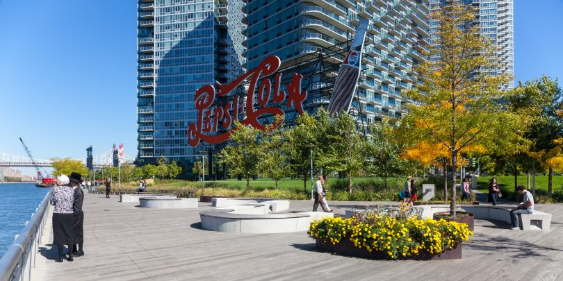 Gantry Plaza State Park, Neon Pepsi-Cola sign. Long Island City, Queens. Robert Wash