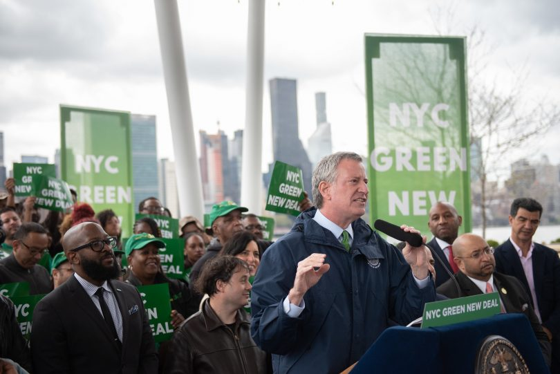 Mayor Bill de Blasio announces New York City's Green New Deal at Hunter's Point South Park on Monday, April 22, 2019. Michael Appleton/Mayoral Photography