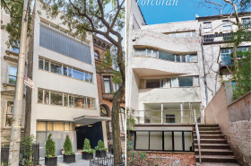 The street view and back view of the townhouse. Images courtesy of Warburg Realty and Corcoran