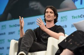 Co-Founder and CEO of WeWork Adam Neumann onstage during TechCrunch Disrupt NY 2017  at Pier 36 on May 15, 2017 in New York City.  (Photo by Noam Galai/Getty Images for TechCrunch) - Licensed under CC 2.0 -https://flic.kr/p/Ufx5Kj