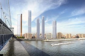 Rendering of the proposed Two Bridges development photo by SHoP Architects